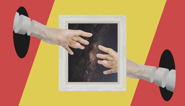 Digital collage modern art, Two Hand reaching through retro picture frame