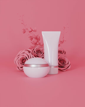 A mock up of realistic White blank cosmetic tube and jar isolated on light pink floral background, 3d rendering , 3D illustration