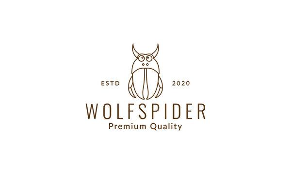 wolf spider cartoon line logo symbol icon vector graphic design