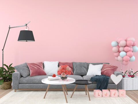 Home interior, luxury modern living room interior, light pink empty wall mock up with sofa and coffee table and some trees, 3d rendering