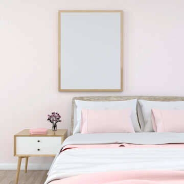valentine home interior, luxury modern bed room interior, light pink wall with a mock up poster frame top of the bed, 3d rendering
