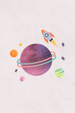 Colorful galaxy watercolor doodle with a rocket on pastel background vector