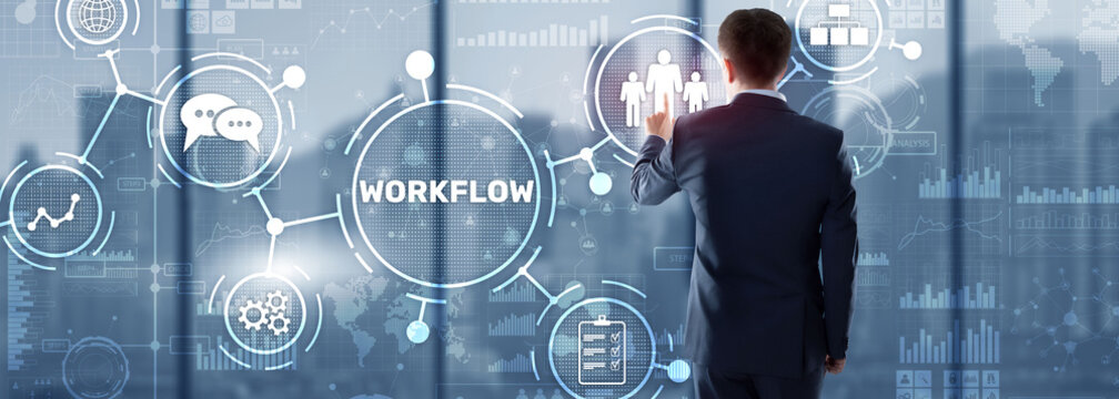 Workflow Repeatability Systematization Buisness Process. Business Technology Internet.
