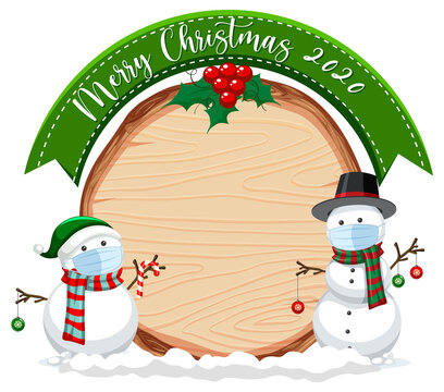 Blank wooden board with Merry Christmas 2020 font logo and snowman wearing mask