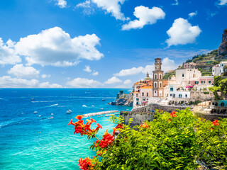 Wall Mural - Landscape with Atrani town at famous amalfi coast, Italy