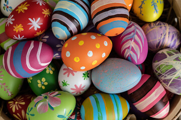 Easter eggs on wooden background with copy space,Colorful and handmade paint on eggs for easter day...