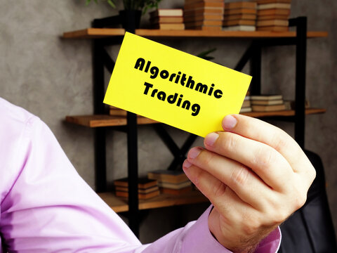 Business concept about Algorithmic Trading with phrase on the yelow business card.