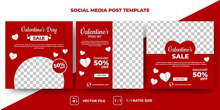 Set of Editable square banners design. Valentine's day sale banner design with love decoration. Suitable for social media, banner, and web internet ads. Flat design vector with a photo collage.