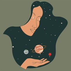 Obraz Female character holding planets in outer space - fototapety do salonu