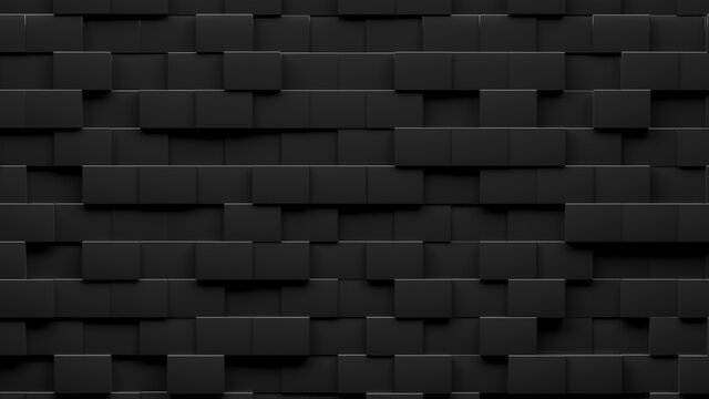 Random shifted  black cube boxes block background wallpaper