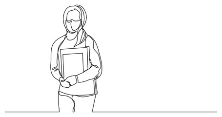 Wall Mural - female student wearing face mask with books - continuous line drawing