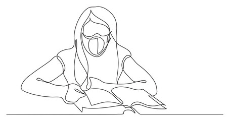 Wall Mural - continuous line drawing of girl reading book wearing face mask