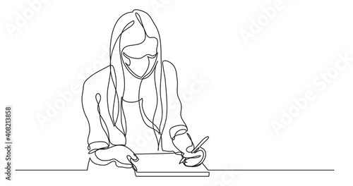 Wall mural student wearing face mask girl writing - continuous line drawing