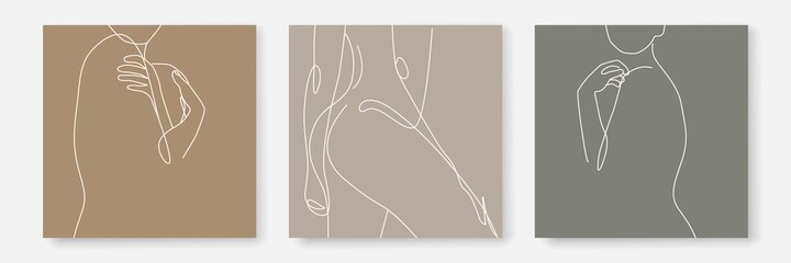 Woman Body One Line Drawing Prints Set. Female Naked Body Creative Contemporary Abstract Line Drawing. Beauty Fashion Female Figure. Vector Minimalist Design for Wall Art, Print, Card, Poster. Fototapete