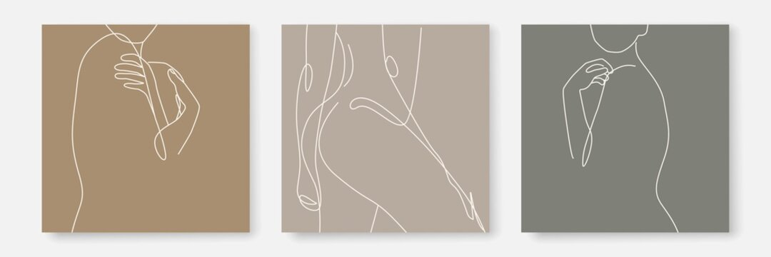 Woman Body One Line Drawing Prints Set. Female Naked Body Creative Contemporary Abstract Line Drawing. Beauty Fashion Female Figure. Vector Minimalist Design for Wall Art, Print, Card, Poster.