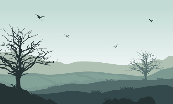 A lovely atmosphere to warm mornings in the countryside. Vector illustration