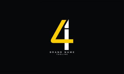 Fototapeta LI, 4I, 4, Abstract initial monogram letter alphabet logo design obraz