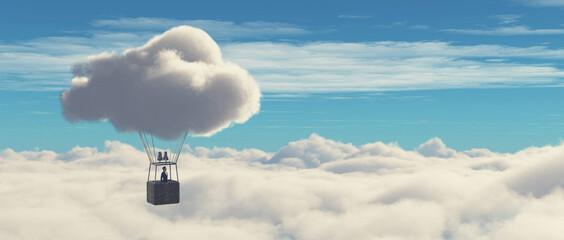 Fototapeta Surreal balloon over clouds obraz