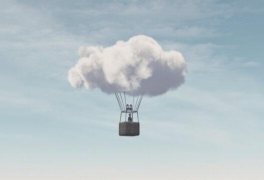 Cloudy hot air balloon