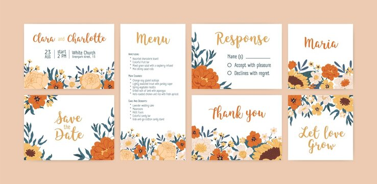 Set of vertical, horizontal and square wedding invitation cards, labels and menu with elegant autumn flowers. Templates with floral border and place for text. Colorful flat vector illustration