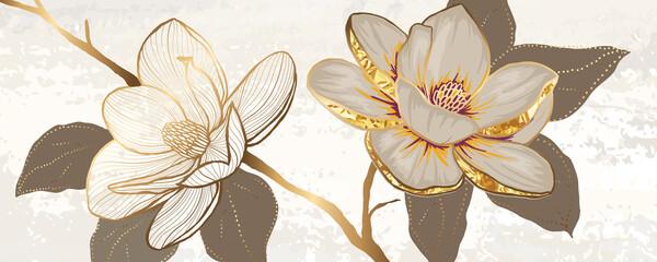 Luxury white magnolia foil metallic background vector with golden metallic home decorate wall art Fototapete