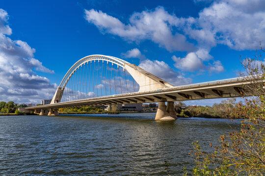 The Lusitania Bridge over the Guadiana River in Merida, Extremadura, Spain