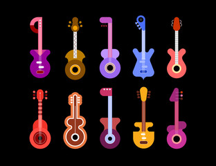 Set of ten different multicolored guitars isolated on a black background. Electric and acoustic guitars.