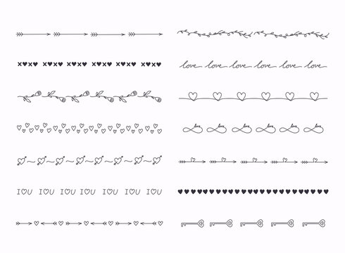 Big set of hand drawn line borders, scribble strokes and design elements isolated on white. Love theme.