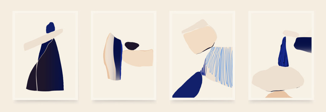Set of minimalist abstract aesthetic shapes illustrations. Modern style wall decor. Collection of contemporary artistic posters.