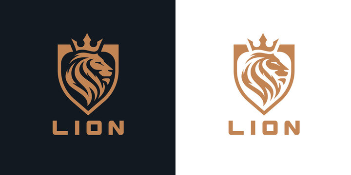 Lion head shield logo icon. Royal gold crown badge symbol. Premium king animal sign. Vector illustration.