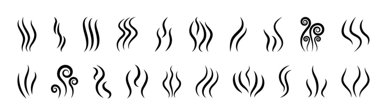 Smoke icons. Logo of steam, smell and aroma from grill and cooking. Vapor symbol from heat in line style. Odor from perfume. Graphic shapes of gas, flame, fume and water. Design illustration. Vector