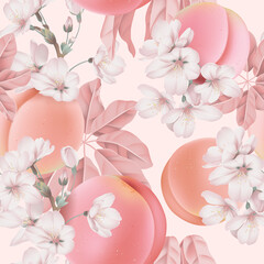 Fruit seamless pattern, pastel peaches and Somei Yoshino sakura on bright pink
