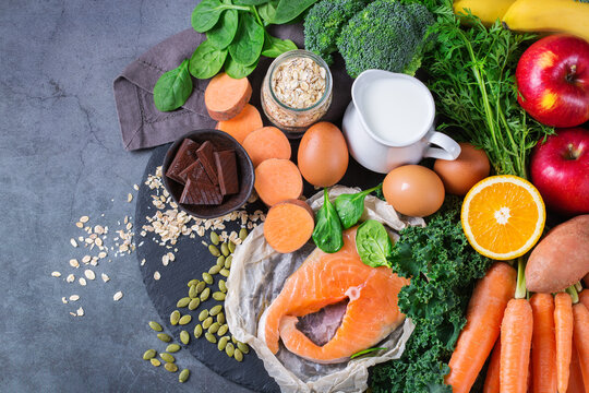 Asthma, respiratory relieving food rich in vitamin d, beta-carotene, magnesium