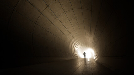 Fototapeta Concept or conceptual dark tunnel with a bright light at the end or exit as metaphor to success, faith, future or hope, a black silhouette of walking man to new opportunity or freedom 3d illustration