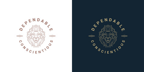 Fototapeta Lion head logo template linear vector illustration
