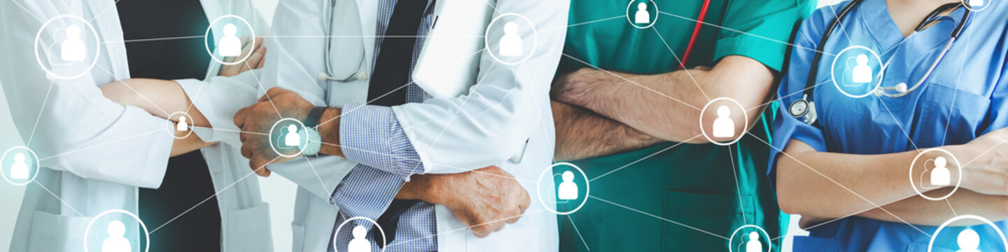 Group of doctor with medical network team graphic