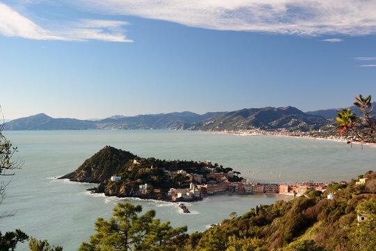 View of Sestri Levante from Punta Manara. Tigullio gulf. Liguria. Italy
