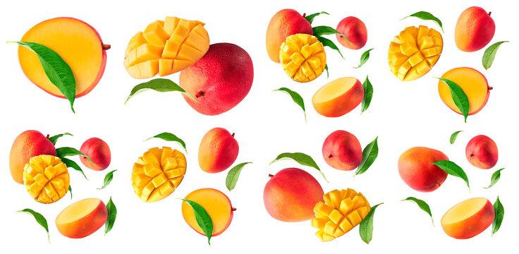 Fresh ripe mango falling in the air