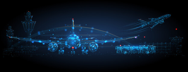 Digital airplane standing on runway, airport buildings, plane taking off, shuttle bus, control tower. Airport low poly wireframe concept in dark blue. Abstract vector mesh with dots, lines and stars