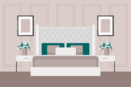 Luxurious bedroom in a classic style, large bed with a headboard, bedside table, vase of flowers. Hotel room suite. Furniture store advertisement. Interior design in Art Deco style. Housewarming card