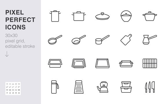 Cookware line icon set. Kitchen equipment cooker pan pot, frying griddle, lid, knife grater minimal vector illustration. Simple outline sign of cooking utensils. 30x30 Pixel Perfect Editable Stroke