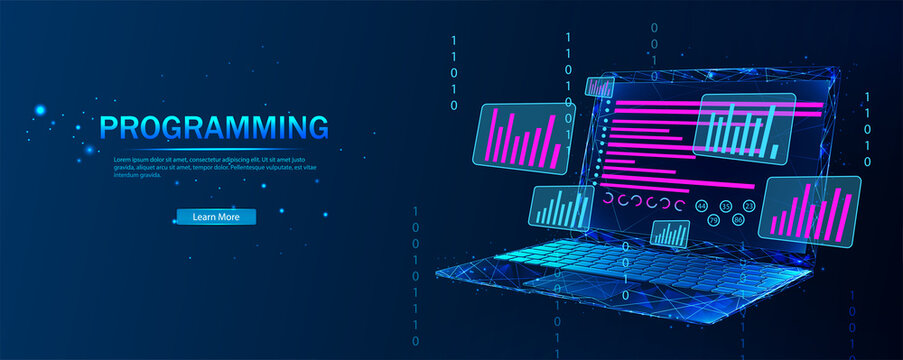 Software, web development, programming concept. Abstract programming language and program code on the laptop screen. Technological process of software development. Software development.