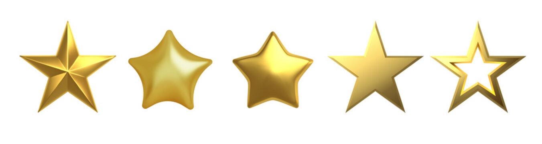3D Golden star on white background Vector