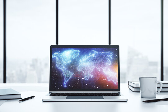 Modern computer display with abstract graphic world map, big data and networking concept. 3D Rendering