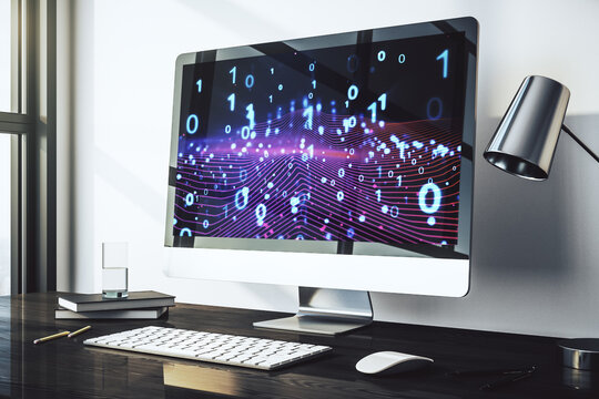 Creative concept of binary code illustration on modern laptop screen. Big data and coding concept. 3D Rendering