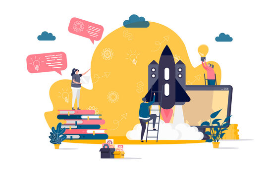 Startup project concept in flat style. Team of startup founders launching new project scene. Innovation solution development web banner. Vector illustration with people characters in work situation.