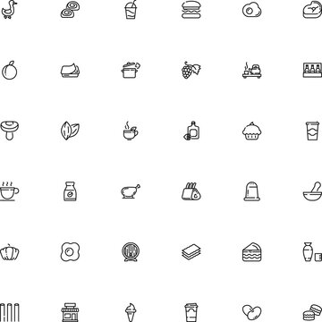 icon vector icon set such as: ham, old, candy, bucatini, health, corners, decorative, condiment, storefront, mushroom, kettle, lager, medical, waste, street, market, jelly, milk, person, caramel