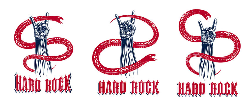 Rock hand sign with aggressive snake set, hot music Rock and Roll gesture and serpent, Hard Rock festival concert or club, vector labels emblems or logos, musical instruments shop.