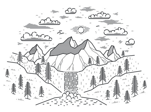 Beautiful waterfall from high mountains range vector illustration isolated on white, beauty in nature theme, hiking camping and travel theme line art drawing.