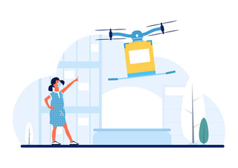 Fototapeta New normal drone delivery. Safe delivery concept. A drone delivering a package for a little girl. Flat vector.